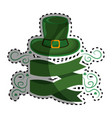green hat st patrick with ribbon and branches vector image
