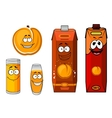 Sunny cartoon peach juice characters vector image