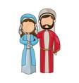 cartoon virgin mary and joseph manger image vector image
