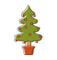 christmas tree with decorative garlands in vector image
