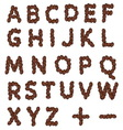 Coffee grain alphabet resize vector image
