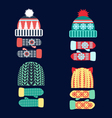 collection of knitted woolen Hat and mittens vector image