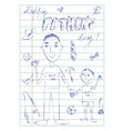 happy fathers day dad and son doodle card vector image
