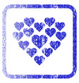 love hearts shape framed textured icon vector image