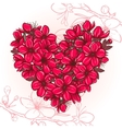 Plum blossomin the shape of heart vector image vector image