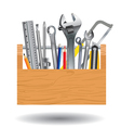 Professional tool with wooden box isolated on vector image