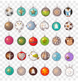 collection of doodle christmas balls vector image