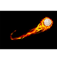 Fire burning volleyball with background black vector image