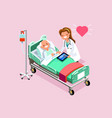 therapist and elderly patient isometric people vector image