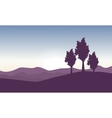 Beautiful landscape with tree on hill vector image