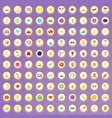 100 light icons set in cartoon style vector image
