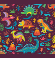 seamless pattern with cartoon dinosaurs vector image