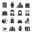 business trip travel meeting seminar icon set vector image vector image
