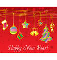 Christmas and New Year card with gold garland vector image vector image