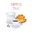 coffee drink milk jug and bun vector image