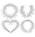 Collection with heart wreaths laurel space for vector image