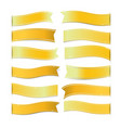 gold ribbons on white background vector image
