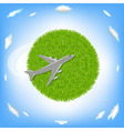 Green Planet And Plane vector image