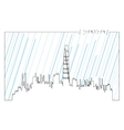 Isolated skyline of Shanghai vector image