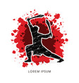 kung fu wushu with swords pose vector image