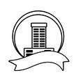 real estate building emblem ribbon outline vector image