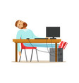 tired businessman sleeping on his chair in the vector image