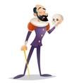 Tragic actor theater stage man medieval suit retro vector image