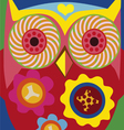 art portrait of a comic owl vector image