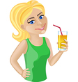 Blond haired girl with orange juice vector image vector image