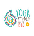 yoga studio since 1985 logo colorful hand drawn vector image