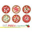 pizza cartoon set vector image vector image