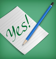 Yes sign on a piece of paper vector image