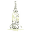 Abstract floral white wine bottle vector image