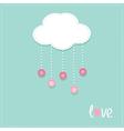 Cloud hanging rain button drops Dash line Love vector image