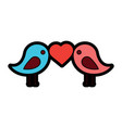 cute couple birds heart in beak valentines day vector image