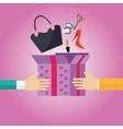 gift present box open to girls female stuff hand vector image