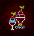 ice cream on neon sign on brick wall vector image