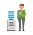 man with water cooler icon vector image