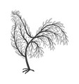 new year symbol stylized branches cock for use vector image