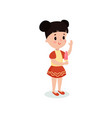 pretty brunette girl eating ice cream cartoon vector image
