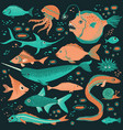 set of handdrawn underwater creatures vector image