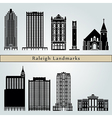 Raleigh landmarks and monuments vector image vector image