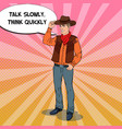 pop art cowboy in hat with comic speech bubble vector image vector image