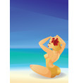 pinup curvy blonde girl on ocean shore decorates vector image vector image