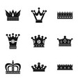 medieval crown icon set simple style vector image