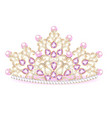 pink diadem feminine crown with jewels vector image vector image