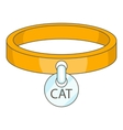 Cat collar icon cartoon style vector image