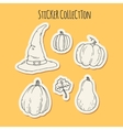 Hand drawn halloween sticker collection vector image