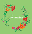 invitation with flower ornament green vector image