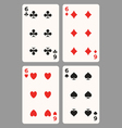Playing cards Six vector image